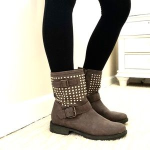 Just Fab Leon Gold Studded Ankle Boots